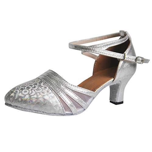 Damen Glitzer Tanzschuh Standard & Latein Salsa Tango Abendschuhe Dance Shoes Geschlossen Ballschuhe Party Schuhe High Heel Sandaletten Ballschuhe -