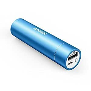 Anker Power Bank, PowerCore+ mini (3350mAh Premium Aluminum Portable Charger) Lipstick-Sized External Battery Power Bank for iPhone 7 / 6 / 6 Plus, iPad Air 2 / mini 3, Galaxy S7 / S7 Edge / S6 / S6 Edge and More (Blue)
