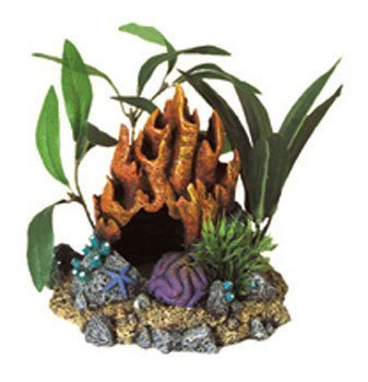 Blue Ribbon Pet Products Resin Ornament - Fire Coral Cave With Plants by Blue Ribbon Pet Products (Pet Products Ornament)