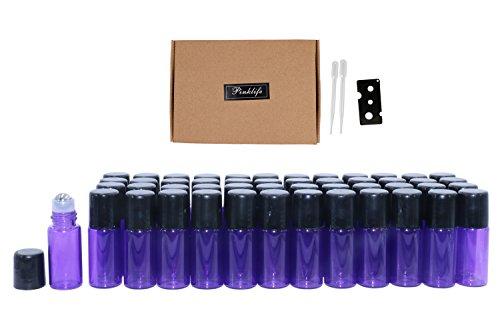 Rimandy Botellas de 3 ml (3/4 Drama) rollo de 50 piezas de color morado de cristal de color rodillos de bola de aceite esencial vacía botellas de aromaterapia perfume de muestra con abridor y cuentagotas
