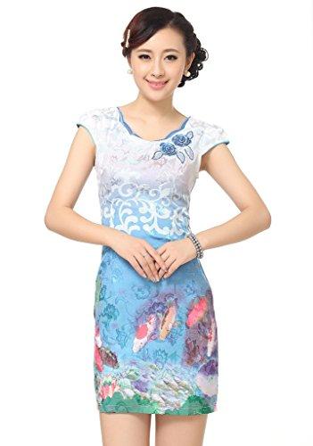 Smile YKK Femme Robe Courte Chinois Cheongsam Coton Aimable Bleu