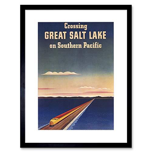 TRAVEL RAIL TRAIN CROSSING GREAT SALT LAKE SOUTHERN PACIFIC ART PRINT B12X1672 -