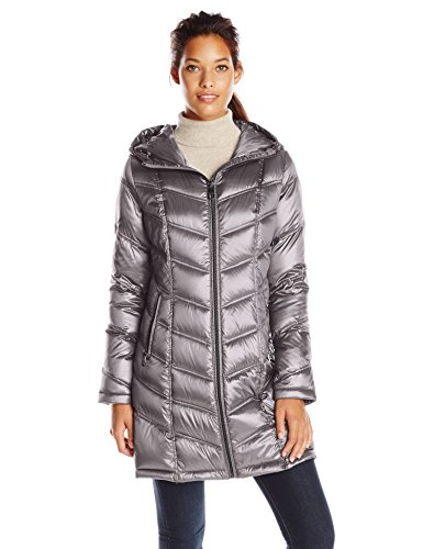 Calvin Klein Women's Mid-Length Packable Chevron Down Coat, Shine Granite, X-Small Calvin Klein Down Coats