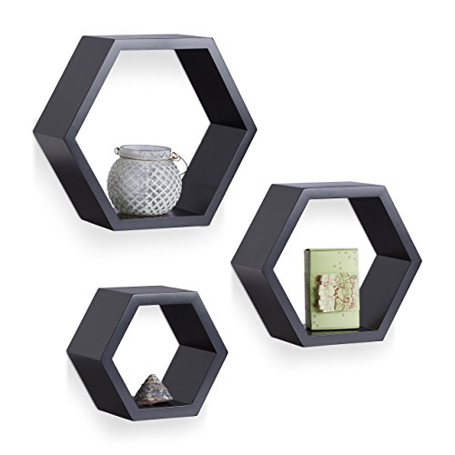 Relaxdays Juego de Baldas Pared Hexagonales, Madera, Negro, 26 x 29,5 x 10 cm