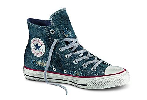CONVERSE - Sneaker blu Chuck Taylor All Star in denim, inserto anteriore in gomma, effetto used, Bambino, Ragazzo-31
