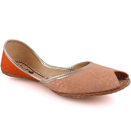 Oz Novas Mulheres Tamanho Tradicional 'amaan' Sapatos Chinelos De Couro Artesanal Bomba Khussa Plana 3-8 - Un-34 Laranja