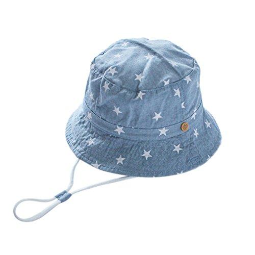 Cloud Kids Chapeau Bob Bébé Enfant Chapeau de Soleil Unisexe en Coton Pliable Protection Anti-UV Solaire Plage Été Voyage (Bleu Clair, 52CM pour 2-4 Ans) Cloud Kids