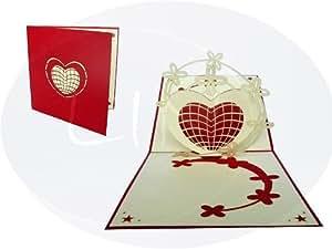 LIN - Pop Up 3D Carte de voeux pour la jour de la Saint Valentin, Coeur et étoiles