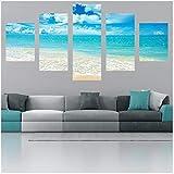 FCXBQ 5 Stück Leinwand Blue Sea Seascape Leinwandbild Malerei Raumdekor Poster Drucken Wandkunst