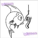 zxddzl Pegatina de Pesca Calcomanías para Peces Pescado de pez Gato Anzuelos Ganchos Tackle Shop Carteles Vinilo Tatuajes de Pared Cazador Decoración Mural Sticker-145x120cm