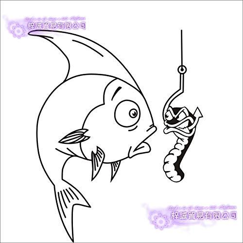 ber Auto Catfish Fisch Aufkleber Angeln Haken Tackle Shop Poster Vinyl Wandtattoos Hunter Decor Wandbild Sticker-116x96cm ()