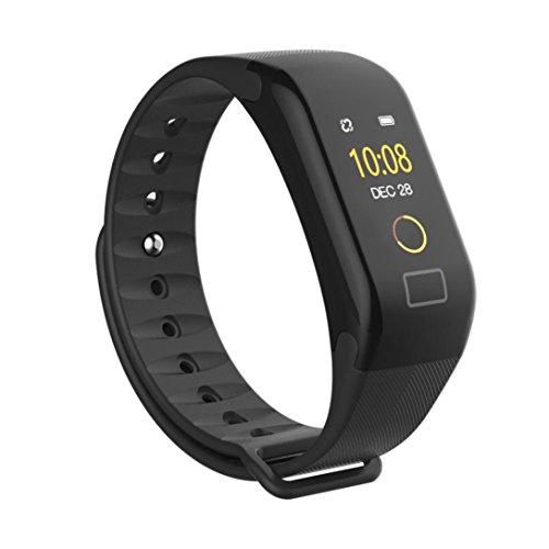 kingko 0,66-Zoll-OLED-Bildschirm,F1 Color Bildschirm Farbe Fitness Blutdruck Sauerstoff Pulsmesser Smart Watch Armband,Herrenuhr - Damenuhr I Schlicht, elegant und sportlich (Schwarz)