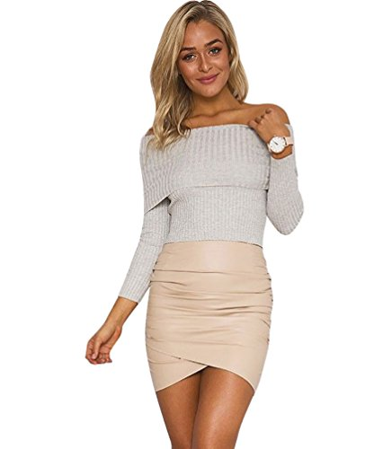 YouPue Femmes Off Epaules Pulls Sweaters Manches Longues Tricoter Epaules Dénudées Pullover Sweatshirt Jumper Tops Sexy Gris