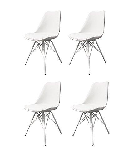 Meubletmoi Lot de 4 chaises Blanches ET Metal - Style scandinave Vintage - Pieds Design métal et Assise Confortable - Tomy