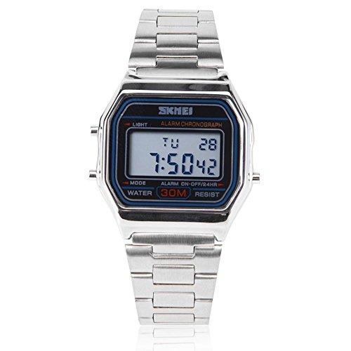Orologi per uomo, orologio digitale a led con retroilluminazione elettronica in acciaio inossidabile. orologio da polso rettangolare(silver)