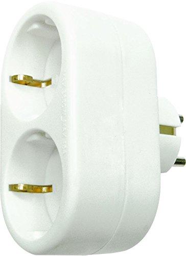 Reiher 430024Power-adaptador doppelte Front mit Erdung, Format, einziehbar, Weiß