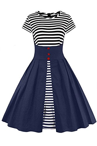 2017 Damen 50er Jahre Retro Kleid Swing Cocktailkleid Partykleid Pin up gestreift Lang, Navy Blau, Gr. XXL
