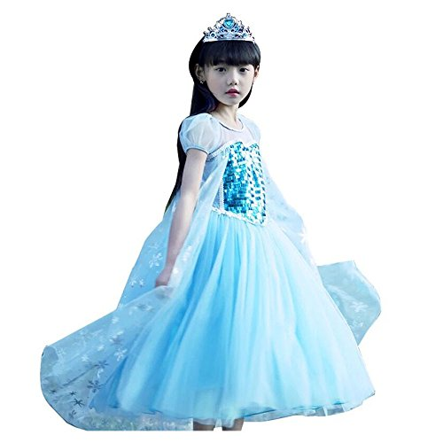 Elsa Kostüm Sequins, Blau, Puff-Sleeve Kleid Dress Cosplay Halloween Kindergeburtstag Fancy Kleid, blau (Elsa Kostüme 2t)