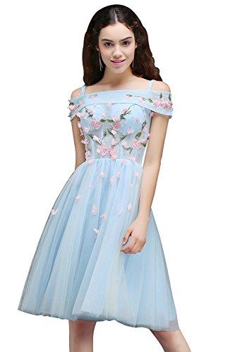 Damen Prinzessin Off-Shoulder A-Linie Spitzenkleid Abendkleid Applique Tüll festlich Kurz Hell Blau 32 (Applique Träger Verstellbare)