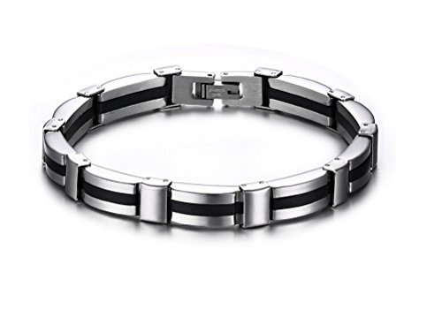 Vnox Collegamento dell'acciaio inossidabile del braccialetto del silicone nero uomo,polacco finito,lunghezza 210 millimetri - Acciaio Inossidabile Braccialetto Del Cranio