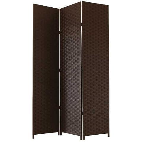 JVL Free Standing Woven Paper Folding Decorative Screen - Brown