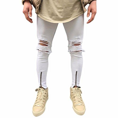 Herren Jeans Hose Jeanshosen Slim Fit Strech Skinny Destroyed Löchern Jeans Denim (31, Weiß Löchern)