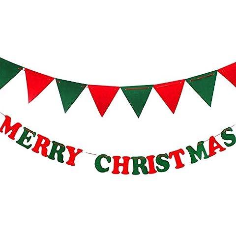 Girlande Merry Christmas mit Buchstaben und Dreiecken, aus Filzstoff, Banner