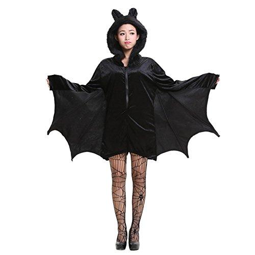 Dintang Cozy Bat Jumpsuit Halloween Cosplay Kostüm für Mädchen Frauen XL