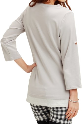 ST4017 Maternity and Nursing 3/4 Sleeve Henley Shirt Grey
