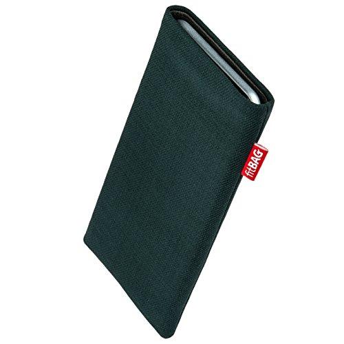 fitBAG Rave Smaragd Handytasche Tasche aus Textil-Stoff mit Microfaserinnenfutter für Fairphone 2 Slim 2016 | Hülle mit Reinigungsfunktion | Made in Germany