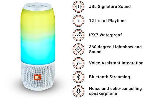 JBL Pulse 3 Wireless Portable Speaker with Vibrant Lightshow (White)