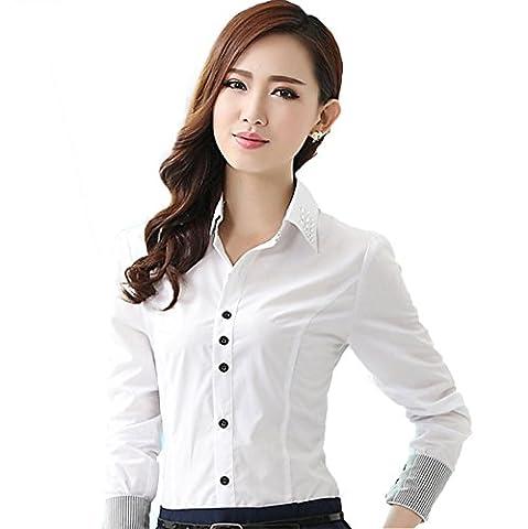 Femme Chemise Elégant Diamante Moulante Commercial Blouse Simplicité Col Boutonné Manches Longues Blanc Asiatique L (FR