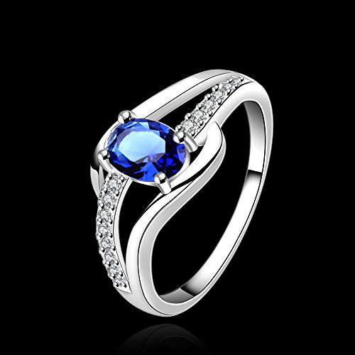 Yellow Chimes Blue Rich Royal Austrian Crystal Sterling Silver (Hallmarked) Ring For Women