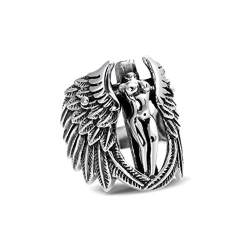 Jade Angel Thai Argento Sterling Angelo Mens di Stile 925 Anello D'argento