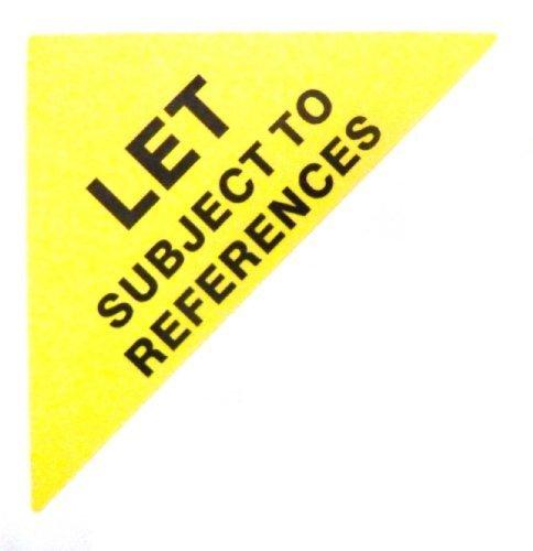 Etiquetas Para Viviendas En Venta , texto: LET SUJETO A REFERENCIAS , Amarillo , Pequeño Triángulo , Inmuebles & Alquileres Agente pegatinas autoadhesivas