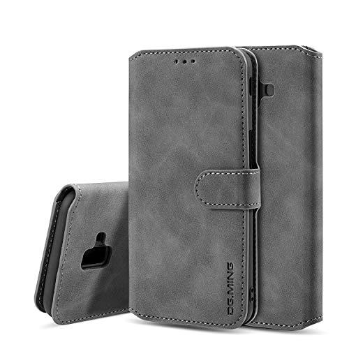 Premium-handy-holster (xinyunew Samsung Galaxy J6 Plus 2018 Hülle, 360 Grad Handyhülle + Panzerglas Premium Handy Schutzhülle Leder Wallet Tasche Flip Brieftasche Etui Schale (Grau))