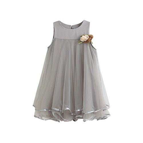 Herzen Kostüm Der 3 (Bekleidung Longra Baby Kinder Kleinkind Mädchen Chiffon Kleider ärmellos Sommer Prinzessin Drape-Kleid + Brosche (3-7 Jahre) (100CM 3Jahre,)