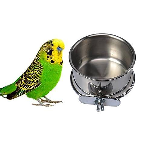 Edelstahl-Futternapf, Vogelfutter, Wasser Futternapf zum Aufhängen für Parrot Aras African Greys Wellensittiche Sittiche Nymphensittiche Sittiche Lovebirds Finch Taube Käfig