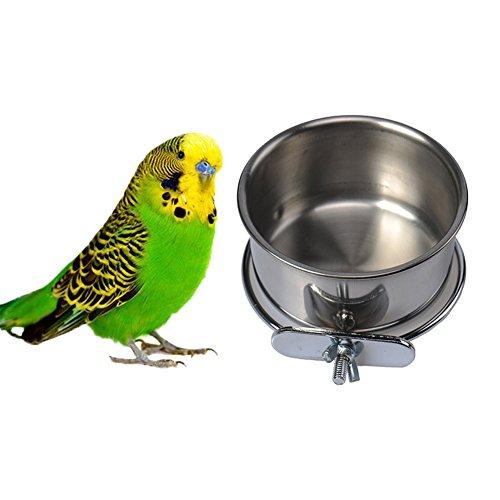 Edelstahl-Vogelfutter Füttern Schüssel Wasser zum Aufhängen Futterstation für Samen für Parrot Aras African Greys Wellensittiche Sittiche Nymphensittiche Sittiche Lovebirds Finch Taube Käfig