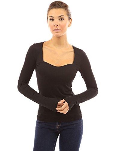 PattyBoutik Femmes Blouse encolure carrée à manches longues Noir