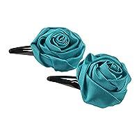 CrayonFlakes Kids Handmade Rose Zircons Tic Tac/Hair Pin/Hair Clip Pair Girls For Girls