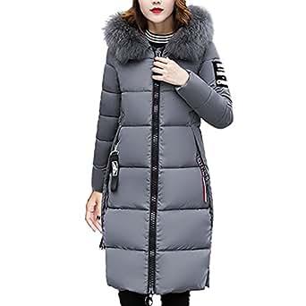 Damen Winterjacke Lange Parka Jacke Winter Daunen Mantel Mit Fellkapuze Steppjacke Steppmantel Wintermantel Gefüttert Parka (Grau, 36)
