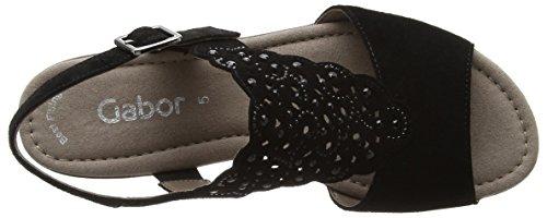 Gabor Shoes Fashion, Sandali con Zeppa Donna Nero (schwarz 17)