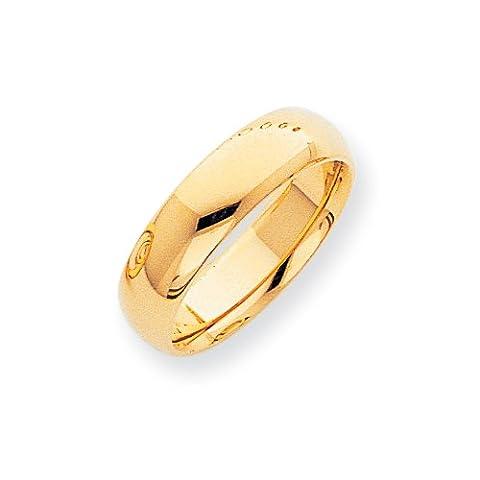 14ct 7mm Halbrund Comfort Fit leicht Band Ring–Größe T 1/2