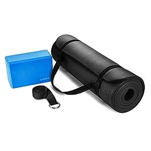 HemingWeigh Essential Yoga Starter Set Kit–inkl. Einem 1,3cm Extra Dicke Yoga Matte, 1Yoga Block und Einen Yoga Riemen