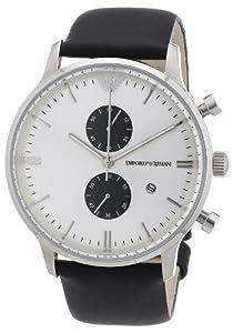 Reloj Emporio Armani AR0385 de cuarzo para hombre con correa de piel, color negro de Emporio Armani