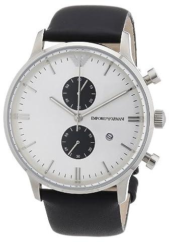 Emporio Armani - AR0385 - Montre Homme - Quartz Chronographe - Bracelet Cuir Noir