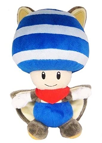 Little Buddy Toys Nintendo Flying Squirrel Toad 8 Plush, Blue by Sanei
