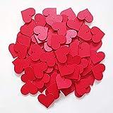 edelkern Holz Streuteile XXL - 100 x Rote Herzen (100 x große Herz Teile) - Schöne Dekoration (Deko) zum Basteln (DIY)