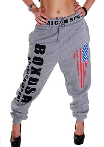 RMK Damen Jogginghose Traininghose Hose Sweatpants Fitness Training Boxen Boxusa (Grau, L 42)